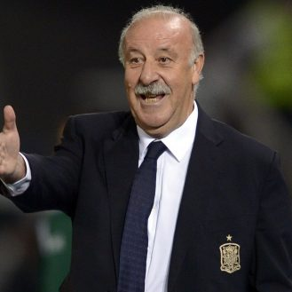 Spain's Head coach Vicente del Bosque reacts during the Euro 2016 Group C qualifying football match between Macedonia and Spain at the Filip II Arena stadium in Skopje on September 8, 2015.     AFP PHOTO / NIKOLAY DOYCHINOV        (Photo credit should read NIKOLAY DOYCHINOV/AFP/Getty Images)