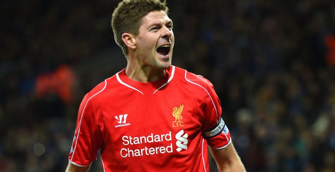 LEICESTER, ENGLAND - DECEMBER 02:  Steven Gerrard of Liverpool celebrates after scoring his team's second goal during the Barclays Premier League match between Leicester City and Liverpool at The King Power Stadium on December 2, 2014 in Leicester, England.  (Photo by Shaun Botterill/Getty Images)