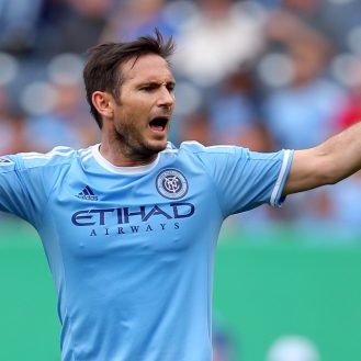 May 21, 2016; New York, NY, USA; New York City FC midfielder Frank Lampard (8) reacts against the New York Red Bulls during the second half at Yankee Stadium. The Red Bulls defeated New York City 7-0. Mandatory Credit: Brad Penner-USA TODAY Sports