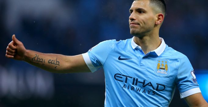 MANCHESTER, ENGLAND - JANUARY 16:  Sergio Aguero of Manchester City celebrates after scoring his team's second goal during the Barclays Premier League match between Manchester City and Crystal Palace at Etihad Stadium on January 16, 2016 in Manchester, England.  (Photo by Alex Livesey/Getty Images)