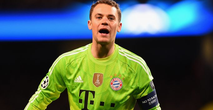 MANCHESTER, ENGLAND - NOVEMBER 25:  Manuel Neuer of Bayern Munchen looks on during the Champions League Group E match between Manchester City and FC Bayern Munchen on November 25, 2014 in Manchester, United Kingdom.  (Photo by Laurence Griffiths/Bongarts/Getty Images)