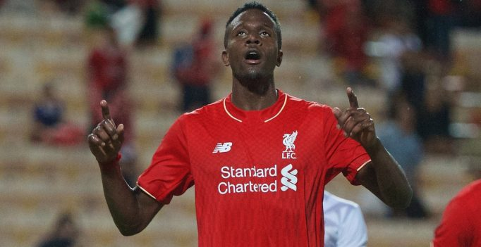 BANGKOK, THAILAND - Tuesday, July 14, 2015: Liverpool's Divock Origi celebrates scoring the fourth goal against True Thai Premier League All Stars during the True Super Trophy match at the Rajamangala National Stadium on day two of the club's preseason tour. (Pic by David Rawcliffe/Propaganda)