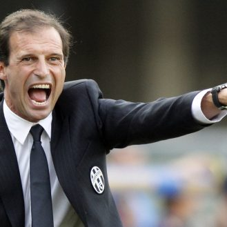 Juventus' coach Massimiliano Allegri shouts during a Serie A soccer match against Chievo Verona at the Bentegodi stadium in Verona, Italy, Saturday, Aug. 30, 2014. (AP Photo/Felice Calabro')