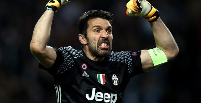 MONACO - MAY 03:  Gianluigi Buffon of Juventus celebrates after Gonzalo Higuain (not pictured) scores his sides second goal during the UEFA Champions League Semi Final first leg match between AS Monaco v Juventus at Stade Louis II on May 3, 2017 in Monaco, Monaco.  (Photo by Julian Finney/Getty Images)