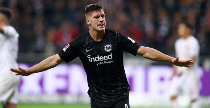 FRANKFURT AM MAIN, GERMANY - OCTOBER 19:  Luka Jovic of Eintracht Frankfurt (8) celebrates as he scores his team's seventh goal and his fifth during the Bundesliga match between Eintracht Frankfurt and Fortuna Duesseldorf at Commerzbank-Arena on October 19, 2018 in Frankfurt am Main, Germany.  (Photo by Alex Grimm/Bongarts/Getty Images)